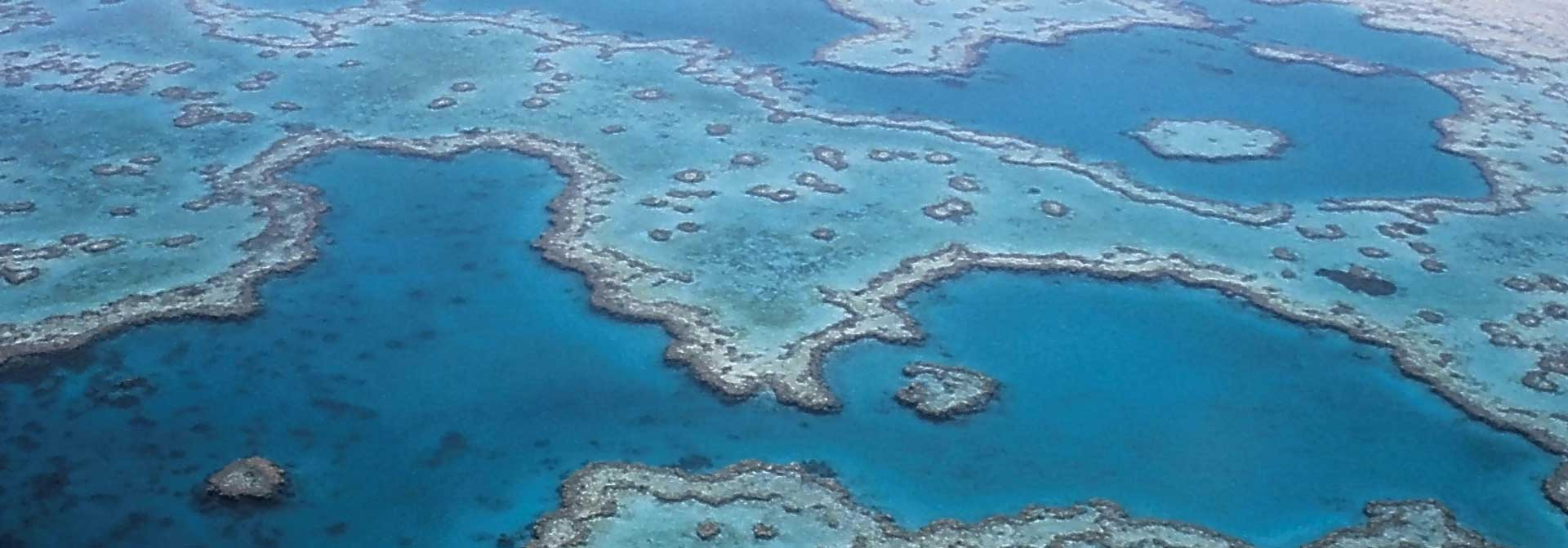 Bird's eye image of great barrier reef in queensland