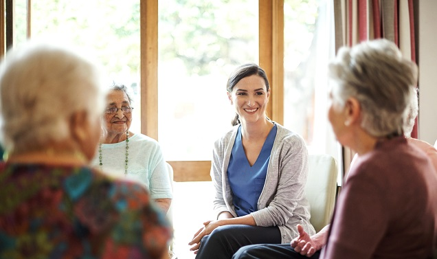 community volunteer discussion with nursing facilitator