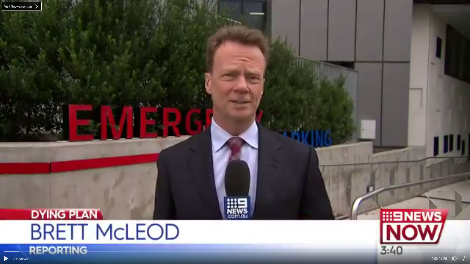 Brett Mcleod, a nine news reporter standing outside an emergency department.