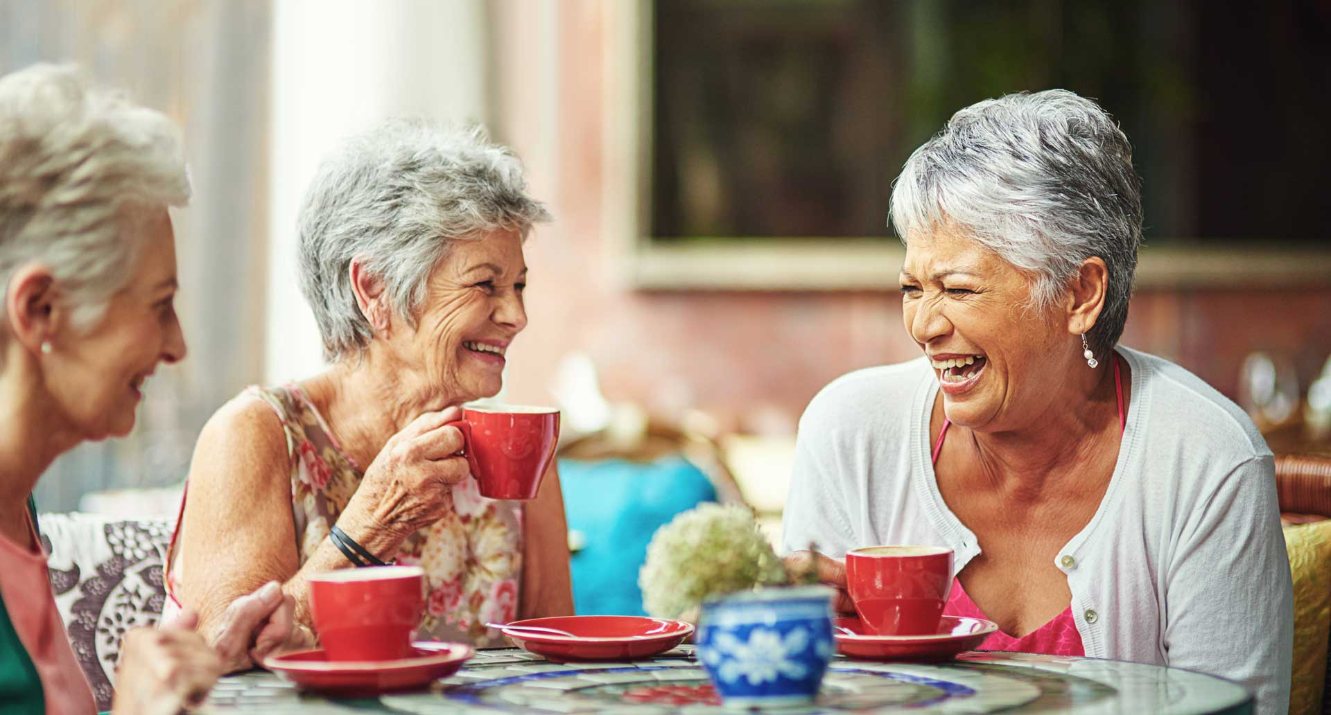 group of eldery women drinking tea and laughing