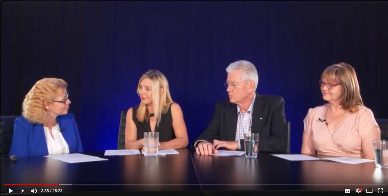 Four webinar hosts seated side by side discussing ACP