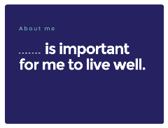 statement what is important for me to live well