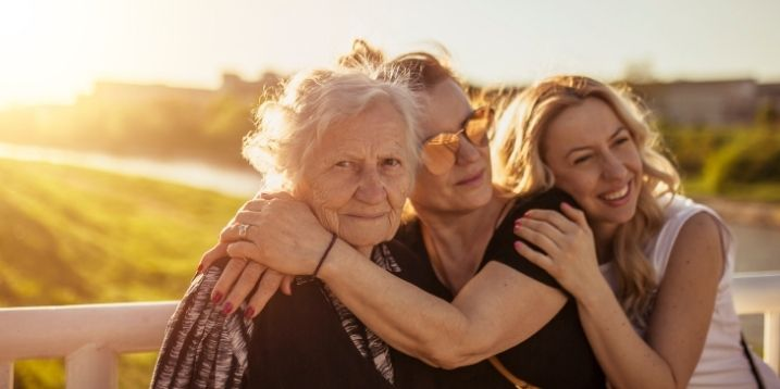 woman and daughters enjoying special moment